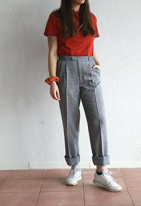 Pantalon gris-chiné taille haute