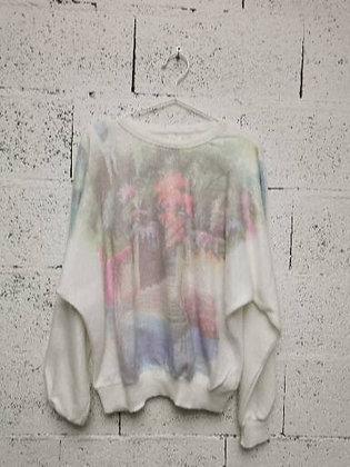 Pull blanc doux avec couleurs pastels