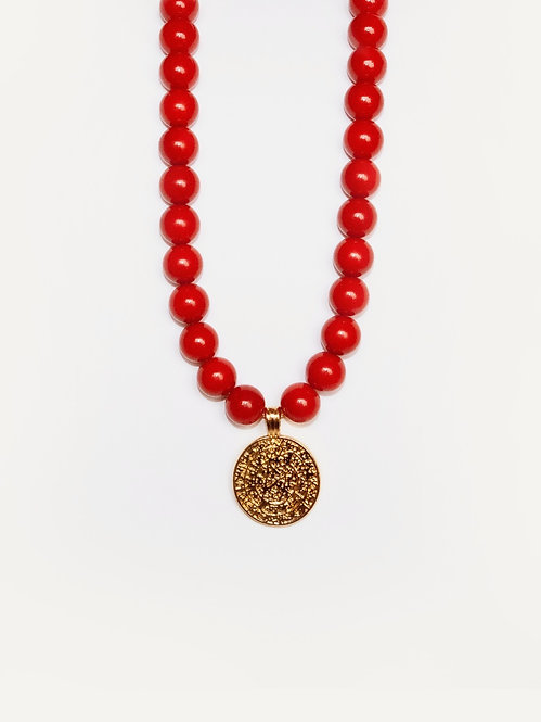 COSO DESIGN red pearl necklace