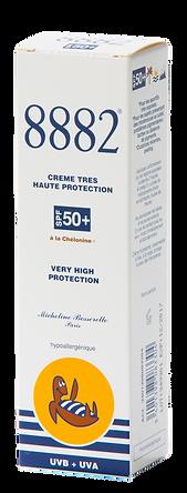 Crème solaire visage 8882 très haute protection SPF 50+ sans nanoparticules pour conditions exceptionnelles d'ensoleillement: haute montagne, haute mer, tropqiues ou pour les sujets hyper-réactifs au soleil