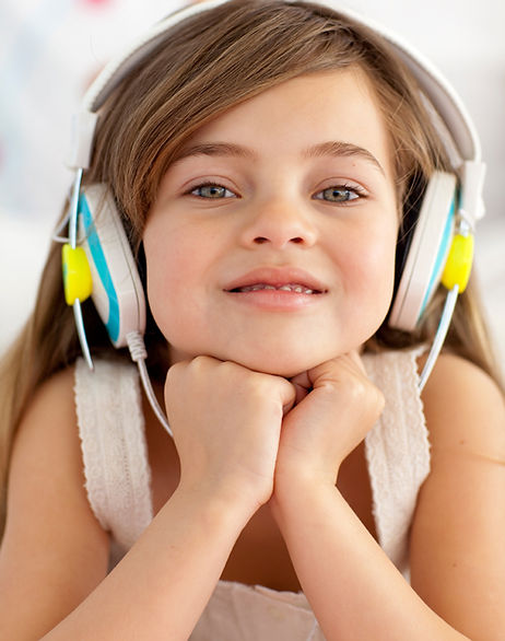 Girl wearing headphones