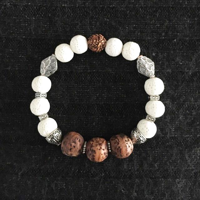 White Pumice, Wood and Metal Bracelet_1