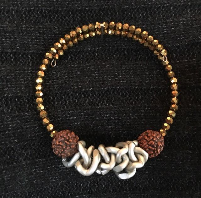 Beaded Metallic With Wood Bracelet_1