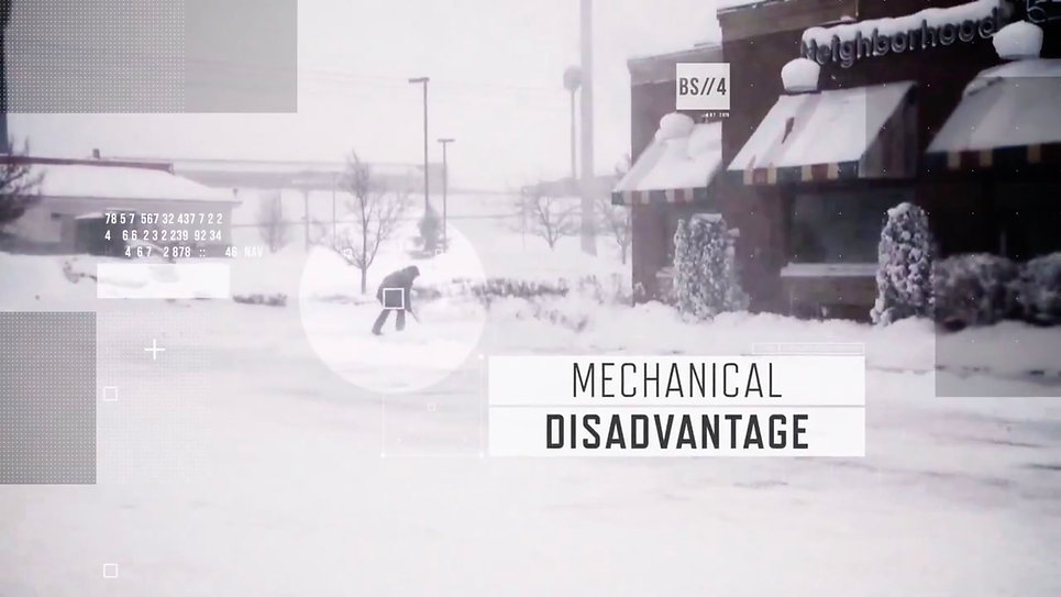 Brain Storm show graphics and man shovelling snow.