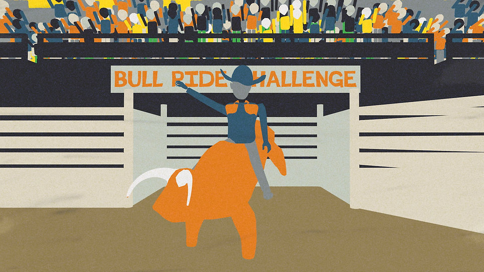 Risky Business Bull Ride Graphic.