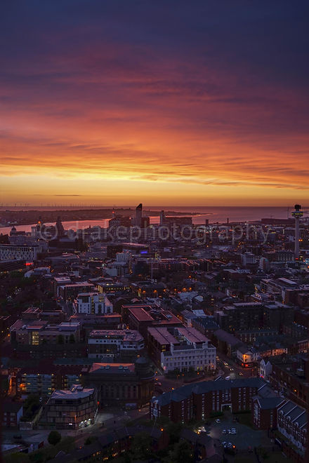 Liverpool after sunset. Night photograph.