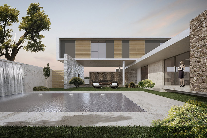 pool view architectural design project modern house