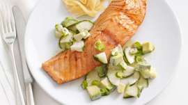 Recipe: Soy-Glazed Salmon With Cucumber-Avocado Salad