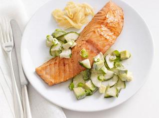 Recipe: Soy-Glazed Salmon With Cucumber-Avocado Salad