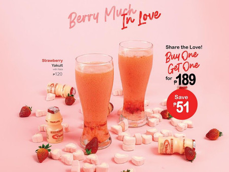 Try our Strawberry Yakult and feel #BerryMuchInLove