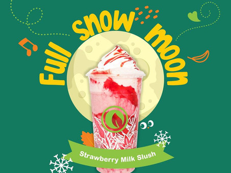 Get cozy under today's full snow moon with our Strawberry Milk Slush + Nata!