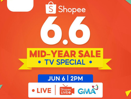 Tune in to GMA 7 today at 2pm as we anticipate the 6.6 Mid Year Special sale in Shopee!