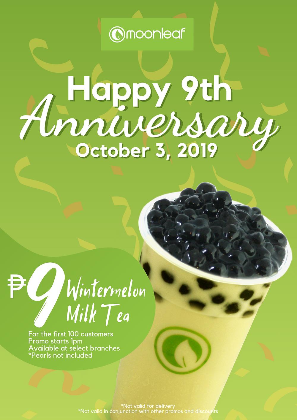 Moonleaf 9 Pesos Milk Tea!