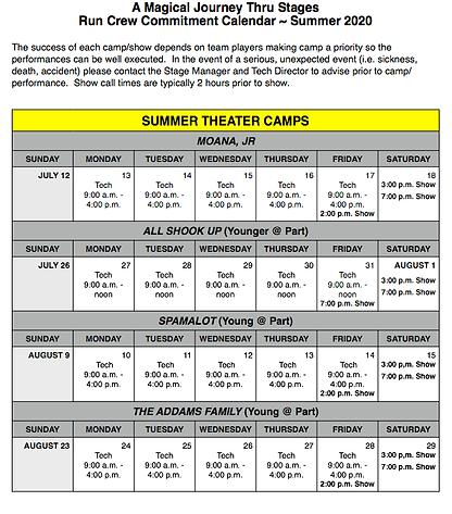 Summer 2020 Run Crew Commitment Calendar