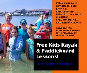Free kids Kayak and Paddleboard lessons Boca Grande FL