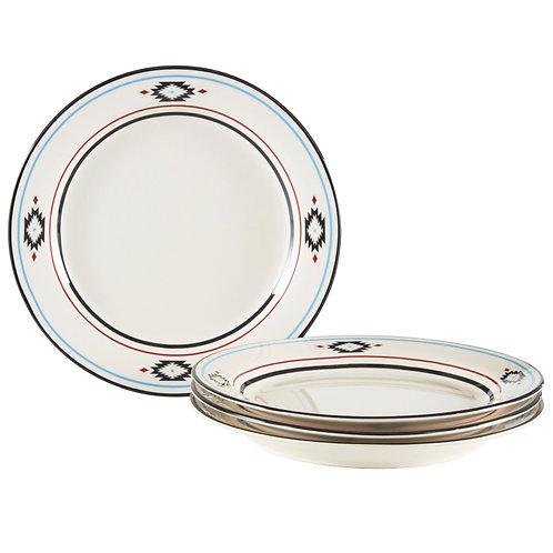 Southwestern Border Beige 4pc Dinner Plate Set