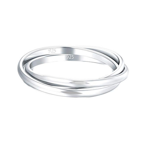 925 Sterling Silver Ring Triple Interlocked Rolling Wedding Band