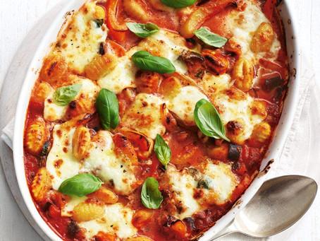 One-pot cheesy tomato and gnocchi bake