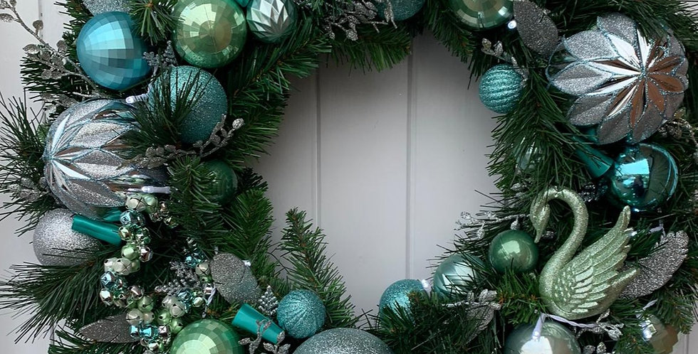 Turquoise, blues and silver - Wreath F