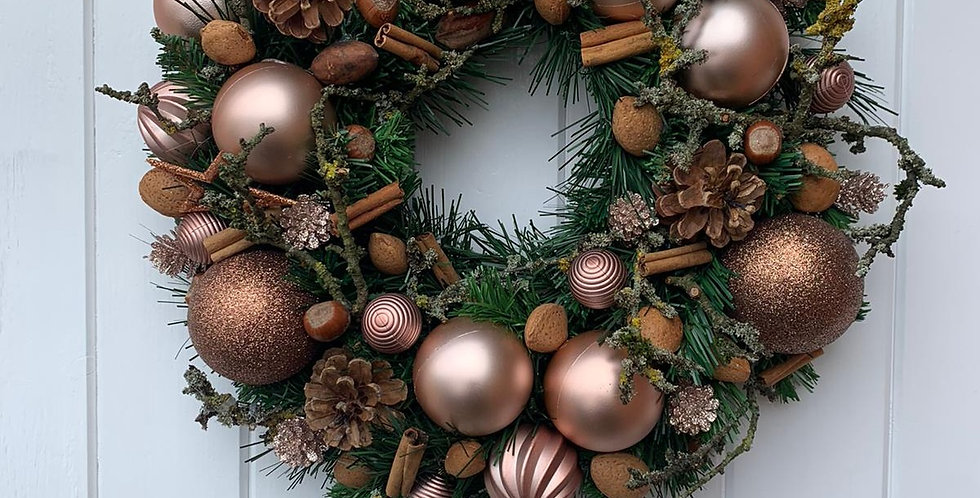 Natural rose gold and coppers - Wreath M