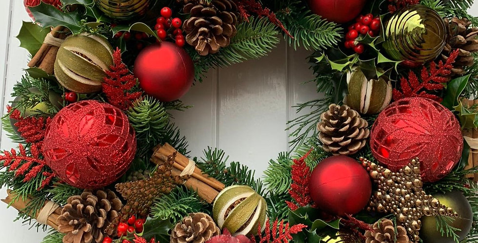 Red and green sparkle - Wreath E