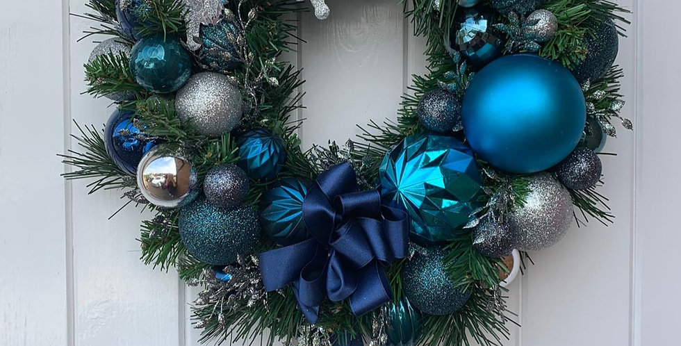 Blues and silver - Wreath K