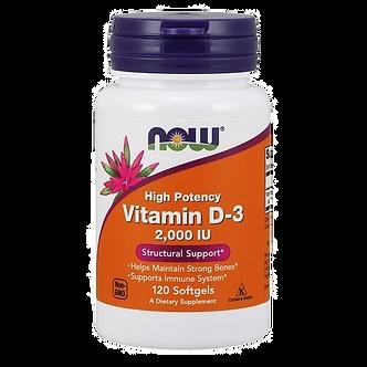 NOW vitamin D3 высокоактивный 2000ME (120капс) (срок 30.06.21)