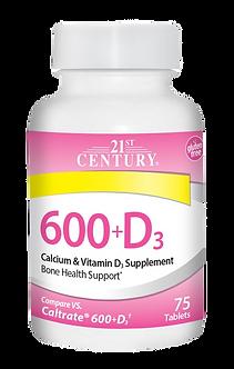 21 CENTURY 600 + D3 Calcium Supplement Caplets (75таб)