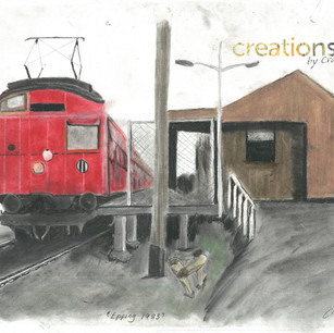 """""""Red Rattler"""" at Epping Station - Flinders St Bound. 1983. Original paint on canvas."""
