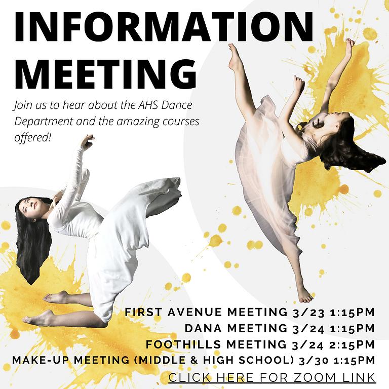 AHS Dance Dept. Makeup Info Meeting: Middle & High School