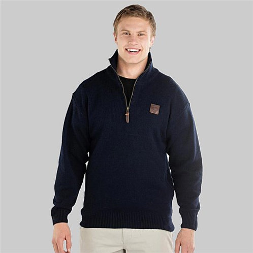 Swanndri Mens Mariner Wool Zip Neck Jersey