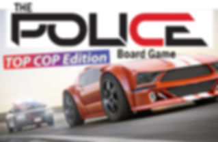The Police Board game logo over a police car chase