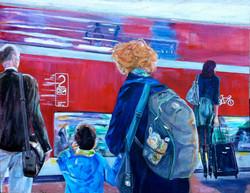 """""""Warten"""" Ölmalerei 95x120"""