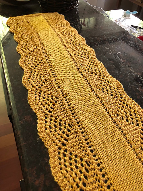 "Scalloped  table runner 56"" long"