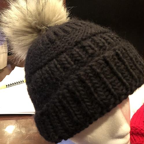 Faux fur Pom Pom beanies knit with 50-100% wool