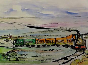 Le Crotoy Le petit train  encre aquarell