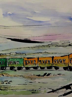VE Le Crotoy Le petit train  encre aquar