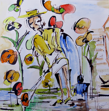 Jardinage  encre aquarelle 40x40cm.JPG