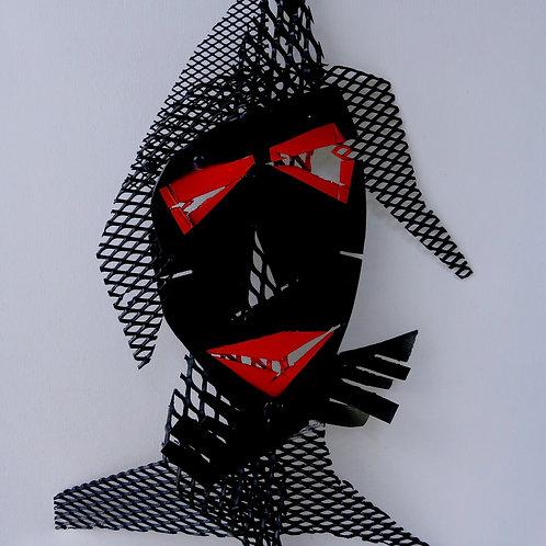 Samouraï Tableau + encadrement 34x34cm noir