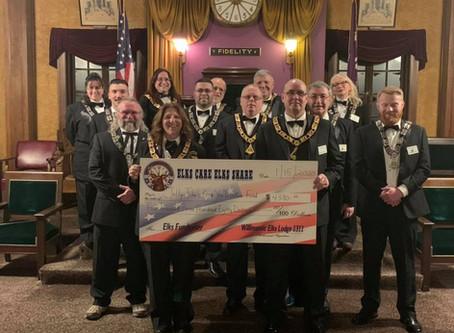Willimantic Elks  Lodge donate $4,380!