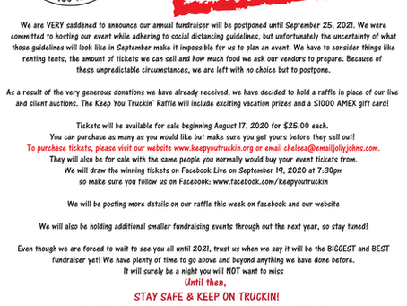 2020 Fundraiser POSTPONED until 9/25/2021