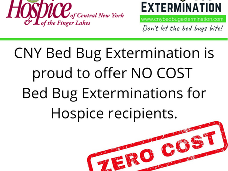 No Cost Exterminations for Hospice Recipients.