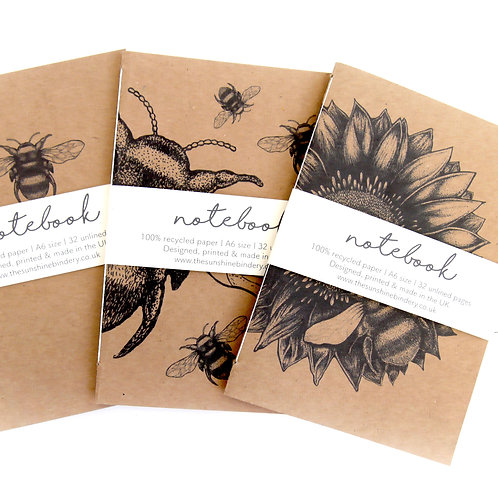 SET OF 3 BUMBLE BEE NOTEBOOKS