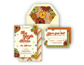 70's Themed Party Invitations