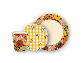 70's Paper Plates + Cup