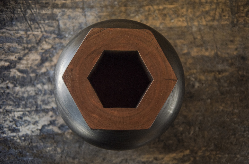 Charred Cherry Hex Rimmed Vessel