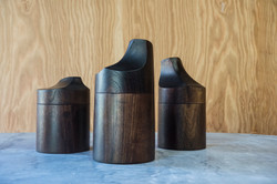 Walnut Canister with Hand Carved Lid
