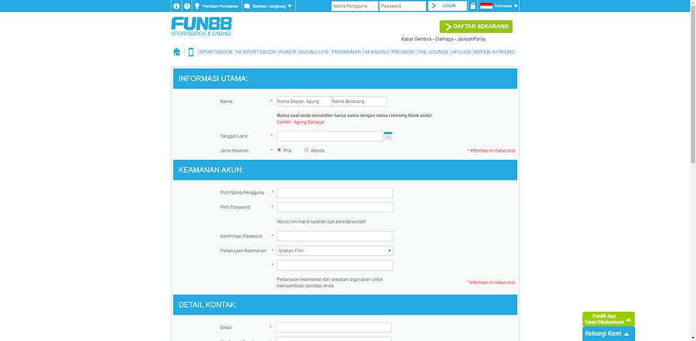 Halaman Pendaftaran Fun88 Indonesia