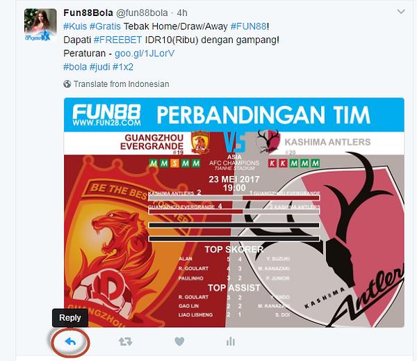 Tombol Reply Twitter Fun88