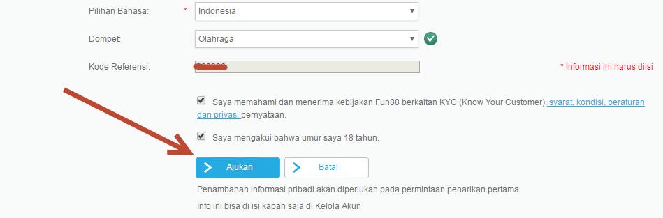 Pengajuan Pendaftaran Fun88 Indonesia